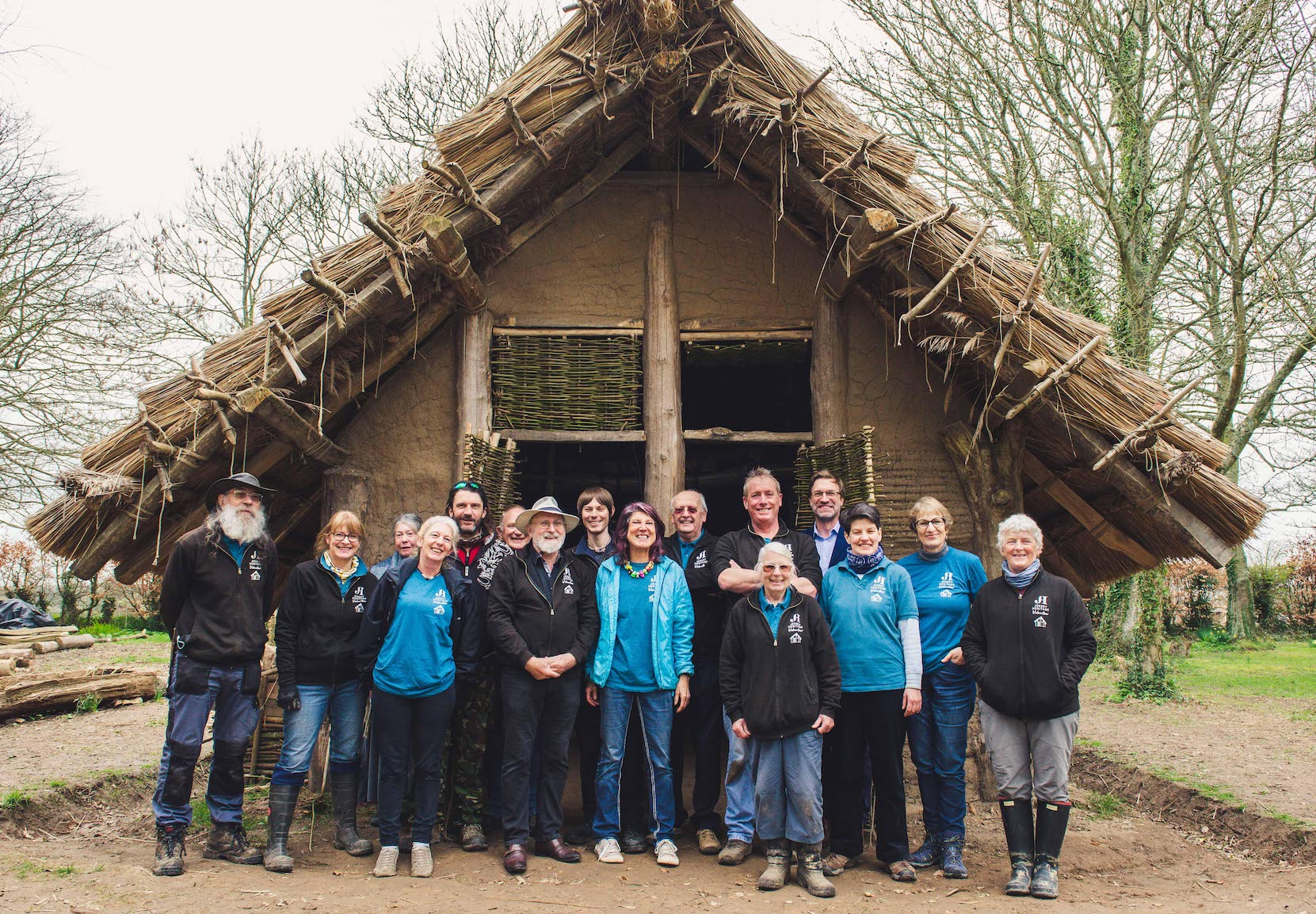 Volunteer - Neolithic Longhouse volunteers at launch 21 03 2019